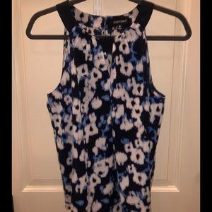 Ellen Tracy Blue Flower Top Size M